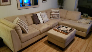 Two piece sectional couch and ottoman