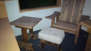 Barn Board Adirondack Chair with Foot Stool and End Table!