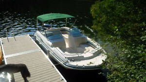 21 Foot Fiberglass V-hull Deck Boat with Evenrude 150 & Trailer