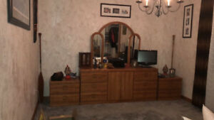 Dresser/Mirror and 2 side tales for Sale
