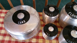 Vintage Kromex canisters and Covered cake plate