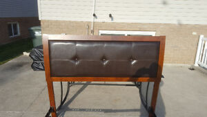 Queen size bed brown leather headbord with metal frame Windsor Region Ontario image 3