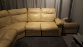 Leather recliner sofa corner