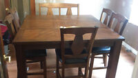 oak dining table, leaf, 6 chairs & double bench seat