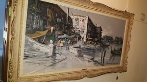 Gorgeous large 48x24 Oil on Canvas painting view of Venice West Island Greater Montréal image 4