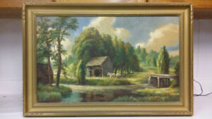 Beautiful antique landscape oil painting