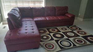 Lovely red faux  leather sectional sofa