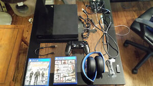 PS4 , 2 games and headset.