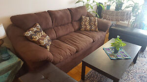 Very clean sofa with tables