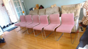SET OF 6 FABRIC CHAIRS, PINK ON A STEEL FRAME