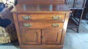 NICE ANTIQUE SOLID WOOD WASHSTAND, STORAGE CABINET, END TABLE