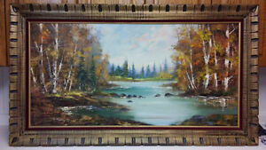 Listed Canadian artist antique landscape oil painting