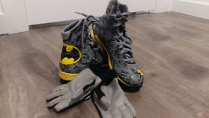 Boys football cleats with gloves