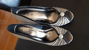 Pewter and Black heels with bling