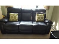 Black Leather recliner sofa 3 and 2 seater