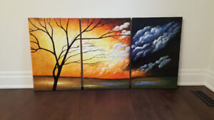 Hand painted artwork trees storm clouds art 3 pieces set large