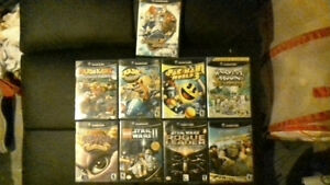 gamecube with games and controller