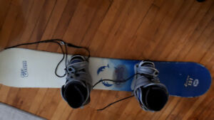 Boys Snowboard, bindings, and Boots, size 8