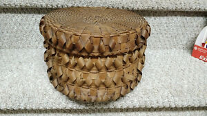 Antique Woven Round Storage Basket - Great Detail!