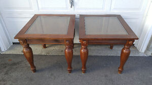 GLASS TOP WOODEN FANCY END TABLES