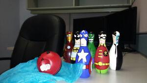 Hand Painted Superhero Plastic Bowling Set REDUCED