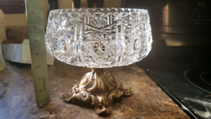 Crystal brass footed bowl