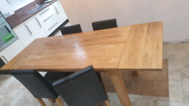 Oak dining table x6 chairs