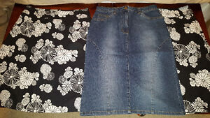 Denim and flowered skirts