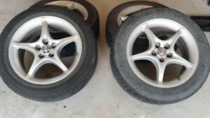 Four 5x100 Bolt Pattern Toyota OEM Rims with 205x55x16 Goodyear