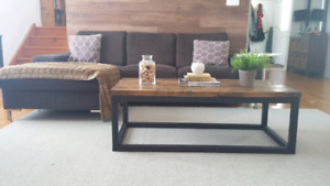 Industrial style solid wood coffee table