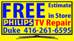 Philips LCD, LED TV REPAIR, FREE ESTIMATE, ANY SIZE, No Power