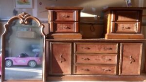 wooden dresser and night stands