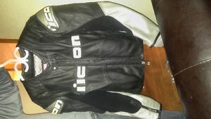 Icon leather jacket and Shoei Bike Helmet