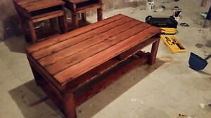 Torched cedar coffee table set.