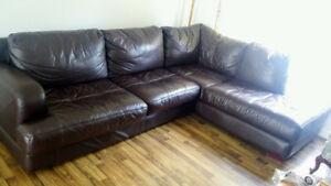 Leather sectional $400