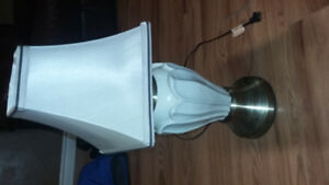 White porcelin and bronze nickel base Lamp