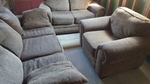 Coffee Brown textured 3 Piece Sofa set for Sale