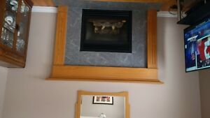 oak fireplace mantel, solid oak lightbox and oak railings