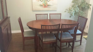 Wood Dining table and Hutch
