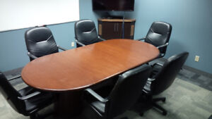 8 Foot Conference Table and Six Leather Chairs