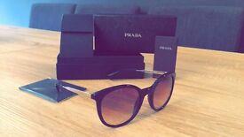 Prada SPR17S Oval Gradient Sunglasses, Black
