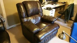Dark Brown Genuine Leather Power Recliner with Massage, Heat
