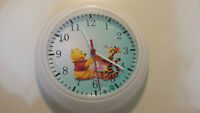 Winnie the Pooh items: wall clock, toys, wipes wallet n more  Wi