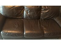 Real Leather 3 Seater Sofa Chocolate Brown FREE OF CHARGE GIVE AWAY!!