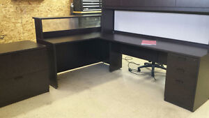 RECEPTION DESK AND MATCHING STAND ALONE FILING CABINET