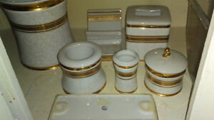 White and Gold Porcelain Verona by CB Set of 7 Pieces