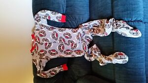 Sock monkey onesie with built in feet - adult small