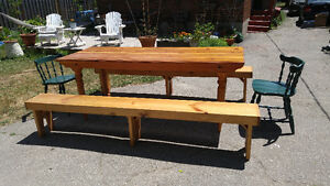 LARGE OLD PINE HARVEST TABLE AND BENCHES AND CHAIRS