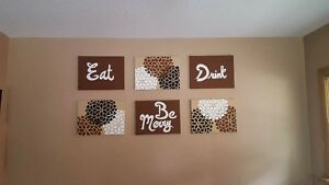 6 piece dining room canvas art