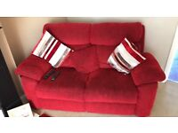 Red material sofa and reclining chair